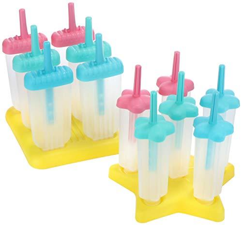 com-four® 2x Eisformer für Wassereis am Stiel - Stieleis-Form für selbstgemachtes Eis - wiederverwendbare Eisformen für 12 Portionen (12x Eisform - 60ml + 80ml)