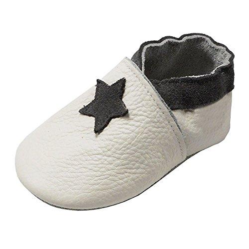 YIHAKIDS Premium Weiche Leder Krabbelschuhe Babyschuhe Kleinkind Lauflernschuhe Mit Karikatur Stern(Weiß,12-18 Monate,23 EU)