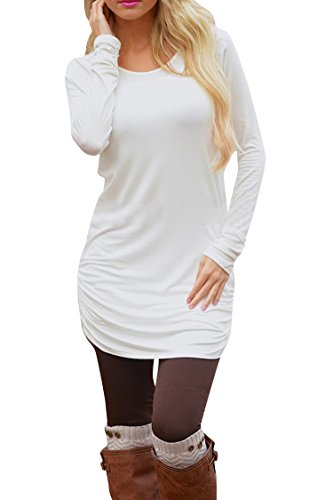 Pink Queen Women's Casual Long Sleeve Slim Ruched Tunic T-Shirt Dress M White