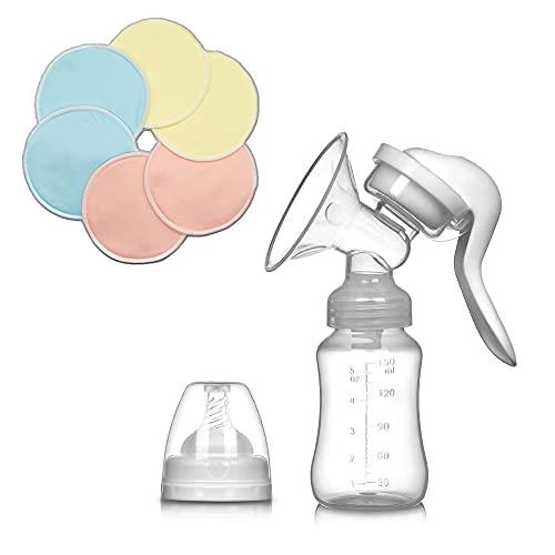 Sacaleches Manual + 6 Discos Lactancia Reutilizables Gratis - Recolector de leche materna - Extractor materno - Discos absorbentes lavables de lactancia (PACK) - Belltop