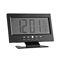 WINOMO Digital Alarm Clock Large Large Screen Modern LCD LED Backlight Snooze Sleep Timer Large Digit with Time Date Temp (Black)