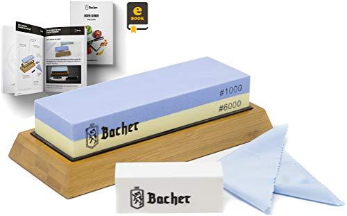 Piedra de Afilar premium marca BACHER. Doble Cara con Granos 1000/6000 Piedra afiladora- afilador de cuchillos con base de bambú antideslizante, piedra de aplanamientoy eBook de guía detallada