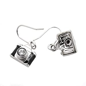 Spinningdaisy Dangling Classic Film Camera Earrings (Black with Silver FBA)