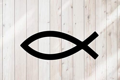 43LenaJon Adhesivo de vinilo para ventana con símbolo de pez cristiano, adhesivo impermeable para coche
