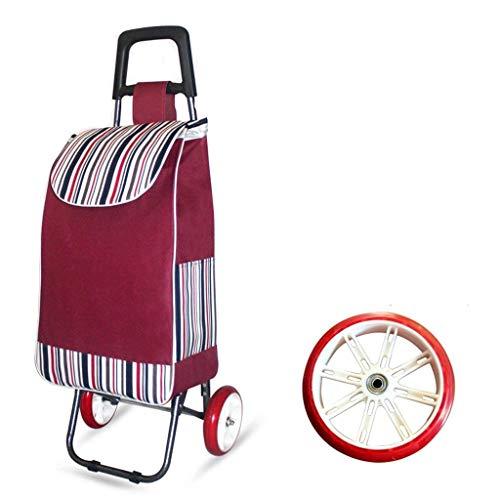 BOC Negozi Trasporti Rimorchio pieghevole Carrello Carrello grande capacità Leggero ruote Trolley Push Cart Bag a 2 ruote,Vino rosso
