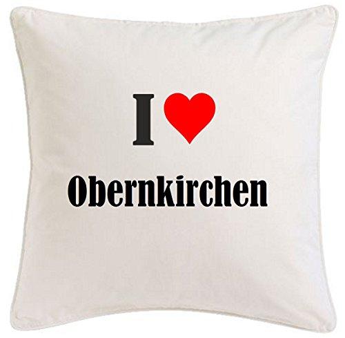 Kissenbezug I Love Obernkirchen 40cmx40cm aus Mikrofaser geschmackvolle Dekoration für jedes Wohnzimmer oder Schlafzimmer in Weiß mit Reißverschluss