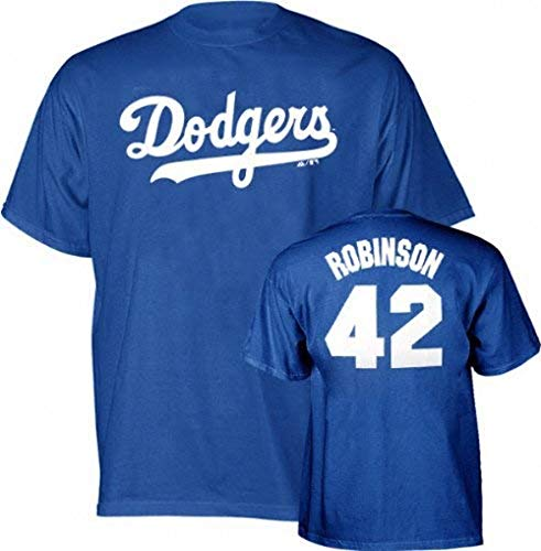 Majestic Jackie Robinson Cooperstown Throwback Player Name and Number Los Angeles Dodgers Youth T-Shirt - Medium (10-12)