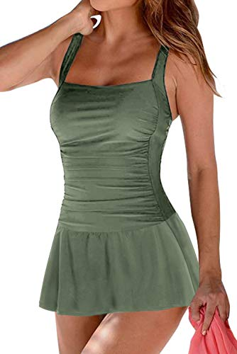 REKITA Women's Tummy Control One Piece Swimsuit Swimdress Vintage Skirted Bathing Suit Olive