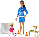 Barbie Soccer Coach Playset with Brunette Soccer Coach Doll, Student Doll and Accessories: Soccer Ball, Clipboard, Goal Net, Cones, Bench and More for Ages 3 and Up, Multi