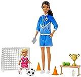 Barbie Quiero Ser, entrenadora de futbol, incluye dos muñecas, profesora y alumna (Mattel GJM71)