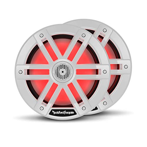 """Rockford Fosgate M1-8 Color Optix 8"""" 2-Way Coaxial Multicolor LED Lighted Marine Speakers - White (Pair)"""