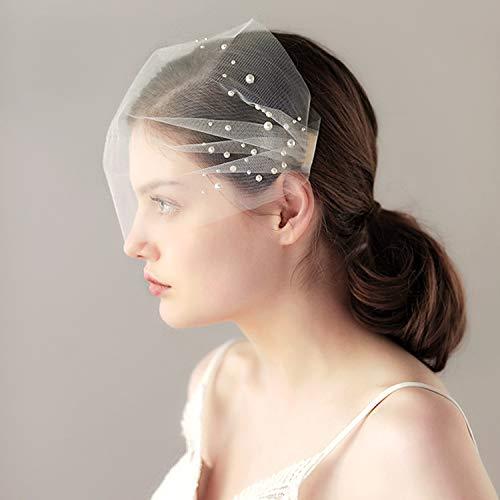 Voile de mariage perlé voile de mariée voile cage à oiseaux accessoire décoration mariage voile blush cristal bijoux de mariée (couleur : noir)