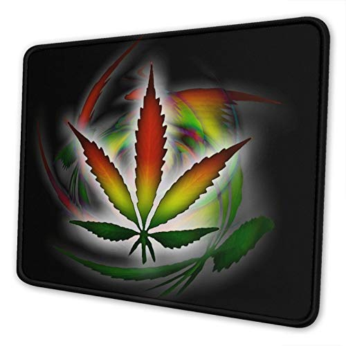 Mouse Pad with Stitched Edges 8.3 x 10.3 in Gaming Mousepad Non-Slip Rubber Base for Laptop - Hoja De Marihuana De Colores