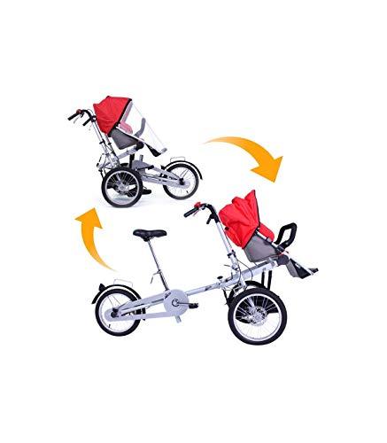 Riscko| Carrito Bebé Bicicleta Transformable Cochecito con Capota | Bicicleta Silla de Bebé 2 en 1 | Rojo