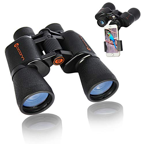 EACONN 10x50 Binoculars for Adults, Powerful Binoculars for Bird Watching Hunting Concerts Sports with BAK-4 Porro Prism FMC Lens, Waterproof Easy Focus Binoculars with Phone Mount Strap Carrying Bag