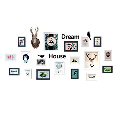 XIAOWAN 18 Pack Picture Frames Vintage Solid Wood Creative Deer Head Combination Collage Photo Frame Wall Gallery (Color : Black White Color)
