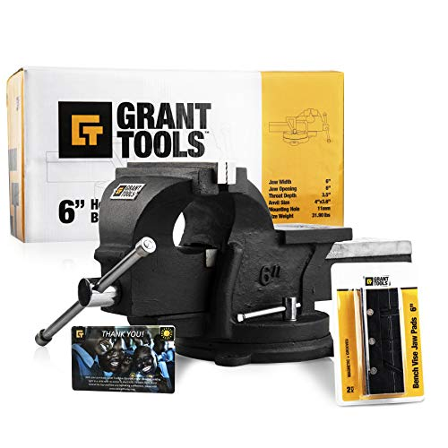 Grant Tools 6' Heavy Duty Swivel Bench Vise | 2 Vise Jaws Included |...