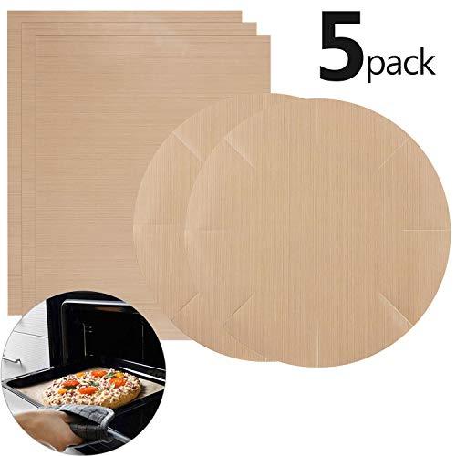 Funmo 5 Piezas Papel de Horno,Papel para Horno Antiadherente-Resistencia a Altas temperaturas, para lavavajillas,3 Piezas 40 x 60cm +2 Piezas 40 x 40cm Ronda - Reutilizable