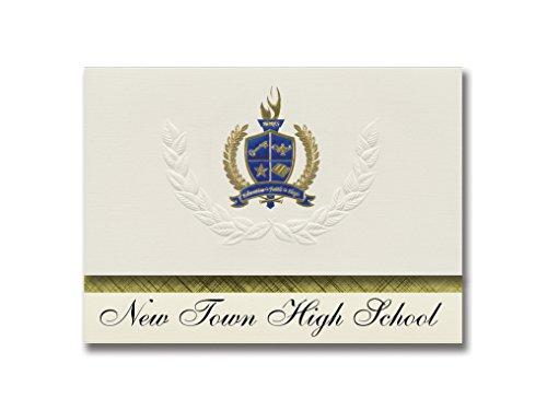 Signature Announcements New Town High School (New Town, ND) Graduation Ankündigung, Presidential Style, Basic Paket mit 25 Stück mit Gold & Blau Metallic Folien-Siegel