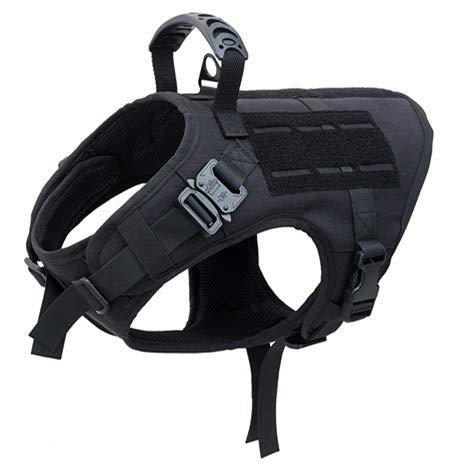 VIVOI Tactical Dog Harness, K9 Working Adjustable Dog Vest With Rubber Layer Hand Control, Black, Medium