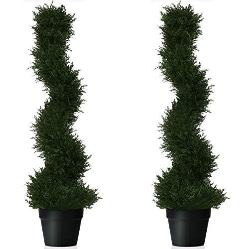 COSTWAY 2er Set Zimmerpflanze Deko, Kunstpflanze, Dekopflanze künstlich, Kunstbaum grün (Höhe 92cm)