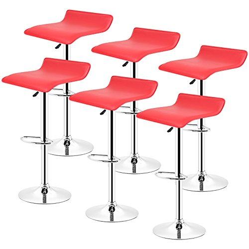 POPSPARK Tabouret de Bar Lot de 6 Design en Cuir Simili et métal chromé, tabourets réglable - Rouge
