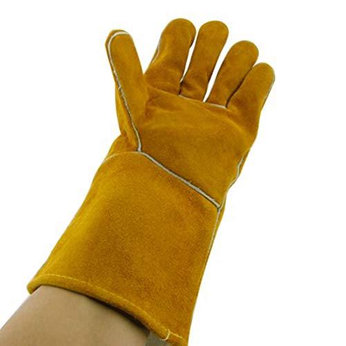 TYXHZL Lassen benodigdheden Extreme hittebestendige en brandwerende handschoenen Leer geschikt voor open haarden, kachels, ovens, grills, solderen, grillen, Mig, pan rekken, dierlijke behandeling