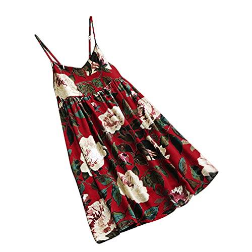 URIBAKY - Vestido sin mangas para mujer, de algodón y lino con estampado floral rojo XXL