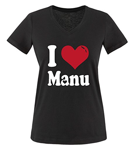 Comedy Shirts - I LOVE MANU - Damen V-Neck T-Shirt - Schwarz/Weiss-Rot Gr. S