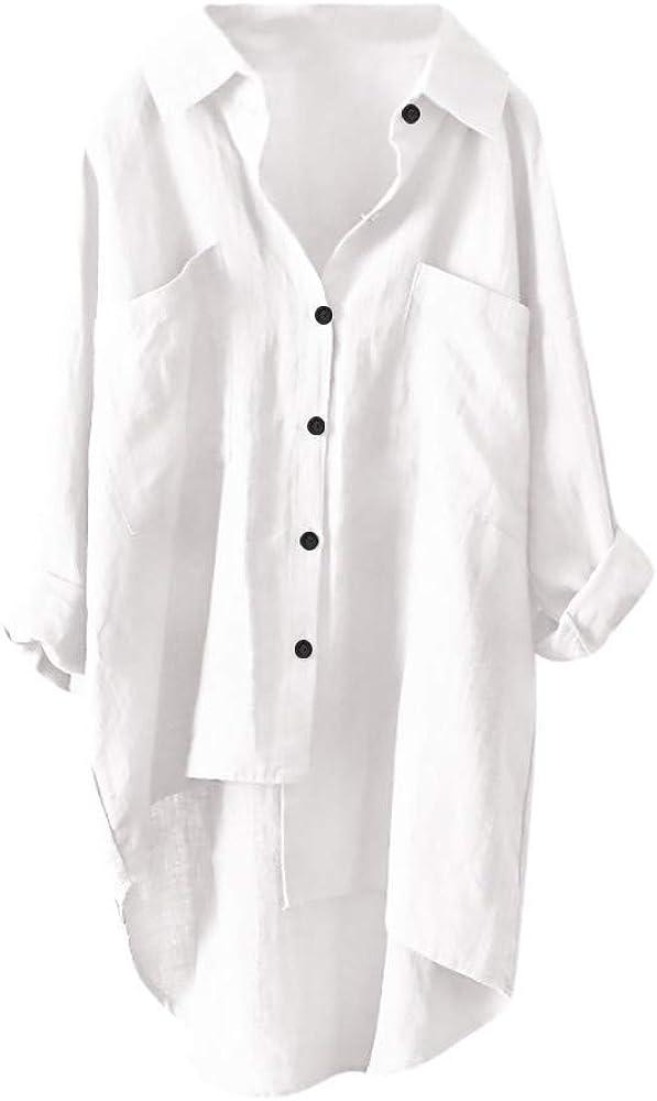 Women Plus Size Cotton Linen Shirt Solid Oversize High Low Hem Blouse Button Casual Top