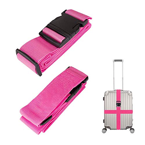 Luggage Straps Suitcase Belts, Adjustable Travel Accessories Reinforced Binding with Buckle Closure for Handbags Totes Briefcases 2 Pack (Rose Red)