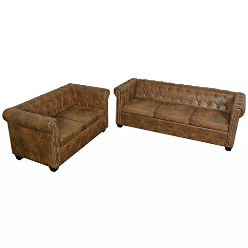 vidaXL Chesterfield Sofa 2+3-Sitzer Couch Lounge Büro Wohnmöbel Kunstleder Braun