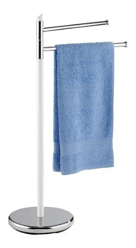 WENKO Porte-serviettes White - Porte-vêtements, 2 bras, Plastique, 47 x 81 x 26 cm, Blanc