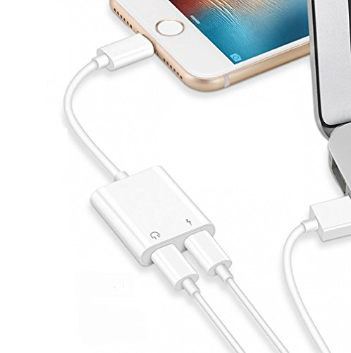 for iPhone Headphone Adapter Splitter 2 in 1 Earphone Jack Aux Audio Charger, Double Dongle Adapter Cable for iPhone 7/7 Plus/8/8 Plus/X/Xs Headset Music&car Charger&Remote&Call Support 10.3 or Later