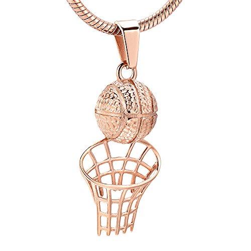 LINGYANMM Collar conmemorativo unisex de acero inoxidable para hombres y mujeres (color principal de la piedra: colgante, colgante, color de metal: oro rosa)