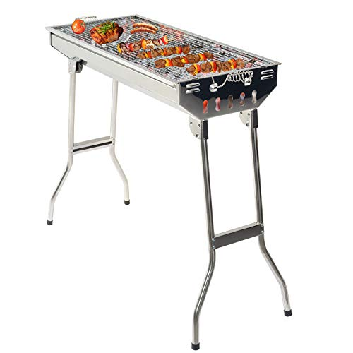 Grandma Shark Stainless Steel Carbon Grill, Portable Foldable Outdoor Barbecue Grill, Suitable for 5-10 People BBQ Party