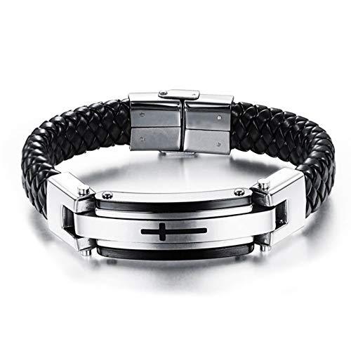 KnBob Chain Bracelet Black Cross Bracelet Stainless Steel for Men