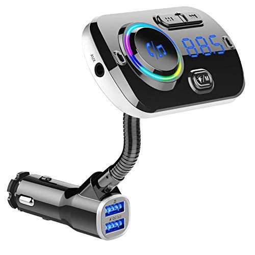 Transmetteur FM Bluetooth, Adaptateur Radio sans Fil Kit de Voiture Mains Libre, QC3.0 Chargeur Voiture 2 Ports USB, 7 Couleurs Cran LED d Affichage, Support TF Aux   MP3   Siri Google Voice
