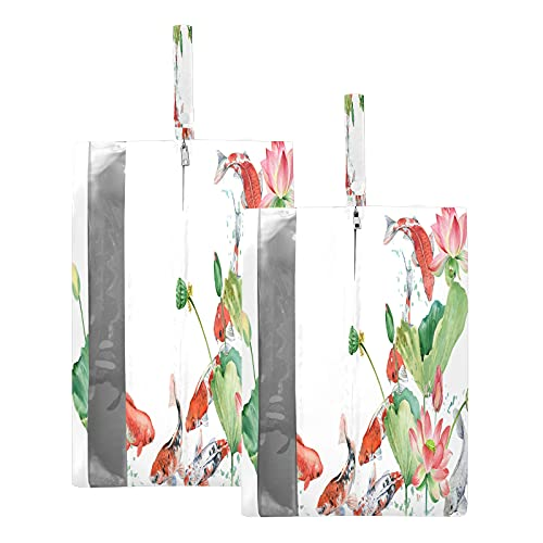 F17 - Borsa da viaggio per scarpe da viaggio con fiori di loto, impermeabile, portatile, leggera, per uomini e donne, 2 pezzi