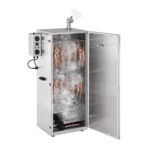 Royal Catering RCRO-1300 Räucherofen Räucherschrank Räuchergrill (147 Liter, 1000 W, bis 110°C, Timer, 8 Einlegeroste, Kaminrohr, Edelstahl) Silber