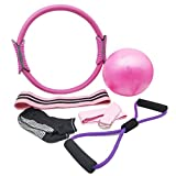 YXILEE 6pcs Pilates Ring Set,Home Exercise Gym Workout Equipment Women,Yoga Circle Portable...