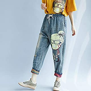 Explopur Elastic Waist Pants,Vintage Women Loose Frayed Harem Pants Denim Elastic Waist Jeans Cartoon Dog Little Girl Print Drawstring Trousers