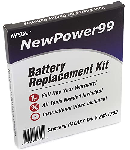 Battery Replacement Kit for Samsung Galaxy Tab S 8.4 SM-T700 with Tools, How-to Video, Long Life Battery from NewPower99