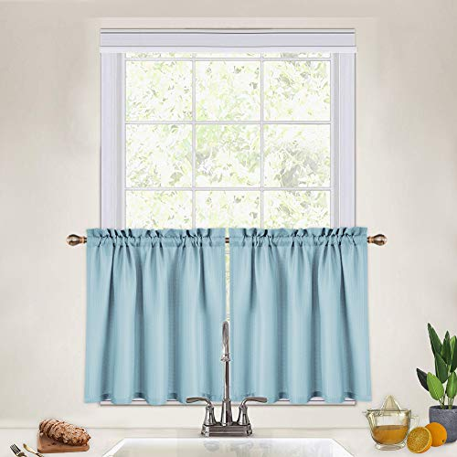 24 Inch Blue Kitchen Curtains, Waffle Woven Textured Short Tier Curtains for Bathroom Cafe Kitchen Curtains, Blue
