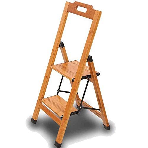 Massivholz-Leiter, 2-Schritt Haushaltsklappleiter Einseitige Leiter Bambus Holz Isolierung Leiter Widening Eindickung Stabilität und Sicherheit