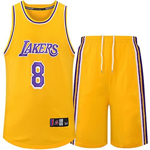 Camiseta de Baloncesto para Hombre de 2 Piezas 8# Kobe, Adecuada para Fiestas, Camisetas de Fan, Uniforme de Equipo Bordado, Secado rápido Transpirable, S-XXXL