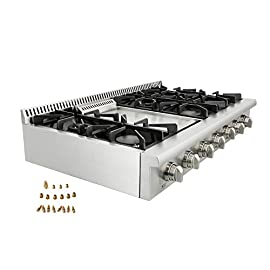 Evakitchen Pro-Style Gas Rangetop with 6 Cooktop, Sealed Performance Burners with Iron Grates, Metal Knobs in Stainless Steel HRT4806U, Agent Thor Kitchen (HRT4806U) 2 Black Porcelain Drip Pan 3 x Heavy Duty Flat Cast-iron Cooking Grates Fuel :NG/LPG( LP kits could be a free gift if needed)