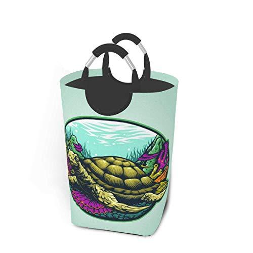 Cestas de almacenamiento de tortugas submarinas Cesto flexible para ropa sucia Bolsa organizadora ecológica Carro clasificador extraíble Lugar seguro para dormitorio Apartamento Lavandería Lavadero