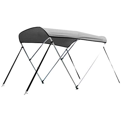 """Leader Accessories Light Grey 3 Bow 6'L x 46"""" H x 54""""-60"""" W Bimini Top Cover 4 Straps for Front and Rear Includes Mounting Hardwares with 1 Inch Aluminum Frame"""