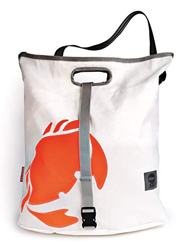 Einkaufstasche Strandtasche orangene Krabbe aus Recycling Segeltuch
